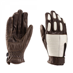 BLAUER BANNER Motorcycle Gloves - Brown and White