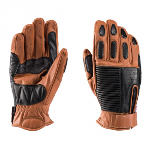 BLAUER BANNER Motorcycle Gloves - Biscuit Brown and Black