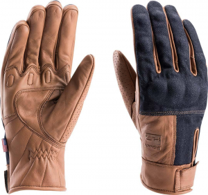 BLAUER COMBO DENIM Motorcycle Gloves - Brown