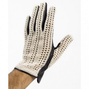 BARUFFALDI GUIA CROCHET Motorcycle Gloves - White and Black