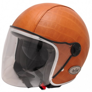 BARUFFALDI ZEON VINTAGE CROCCO Jet Helmet - Brown and Leather
