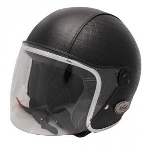 BARUFFALDI ZEON VINTAGE CROCCO Jet Helmet - Black with Black interior