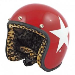BANDIT STAR LEOPARD Jet Helmet - Red