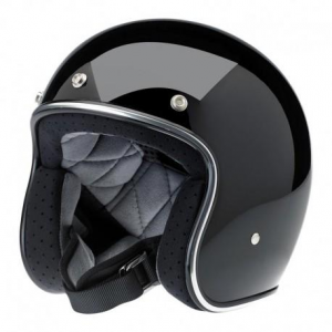 BILTWELL Bonanza Open Face Helmet - Gloss Black - Special Offer