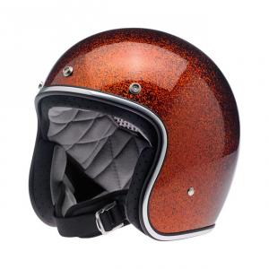 BILTWELL Bonanza LE RACER Open Face Helmet - Flat Cream/Orange - Special Offer