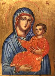 Icona Madonna con bambino di Svetlozar Mladenov 30 x 20,5 cm