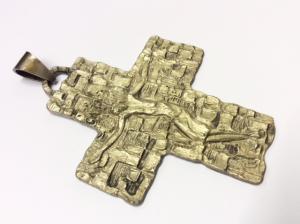 Croce pettorale bronzo argentato
