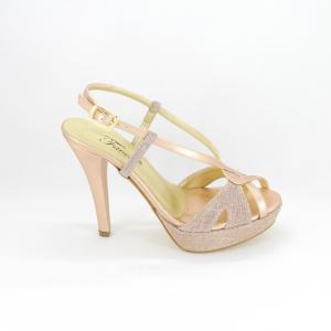 Sandalo donna elegante da cerimonia in tessuto glitter rosa con cinghietta regolabile  Art. A750 Gi. Effe Ci.