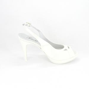 Sandalo donna elegante da cerimonia in tessuto di raso avorio con inserti glitter con cinghietta regolabile Art. A774 Gi.Effe Ci