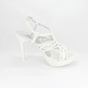 Sandalo donna elegante da cerimonia in tessuto glitter bianco con cinghietta regolabile Art. A679 Gi.Effe Ci