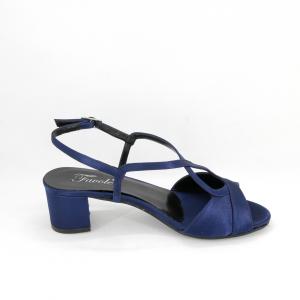 Sandalo cerimonia donna elegante in tessuto di raso blu con cinghietta regolabile Art. A624 Gi. Effe Ci.
