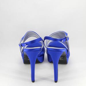 Sandalo elegante donna sposa cerimonia in tessuto di raso bluette con cinghietta regolabile Art. A855 Gi. Effe Ci.