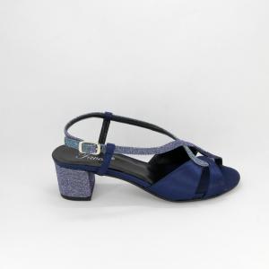 Sandalo donna elegante da cerimonia in tessuto di raso blu e inserti tessuto glitter con cinghietta regolabile Art. LIVIA Gi Effe Ci