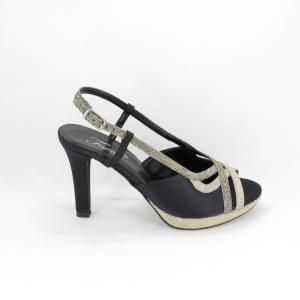 Sandalo donna elegante da cerimonia in tessuto di raso nero e inserti tessuto glitter oro e platino con cinghietta regolabile Art. A701 Gi Effe Ci