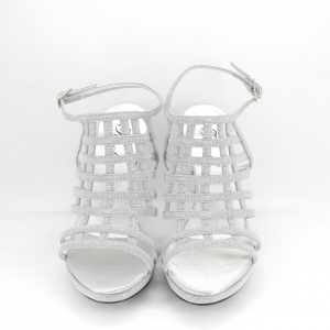 Sandalo donna elegante da cerimonia in tessuto glitter argento con cinghietta regolabile Art. A772 Gi. Effe Ci.