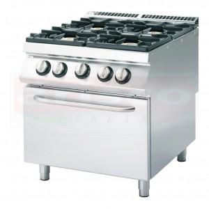 Cucina a gas 4 fuochi potenziata, forno elettrico a convenzione GN 2/3, porta in acciaio