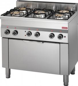 Cucina a gas 5 fuochi potenziata, forno elettrico a convenzione GN 1/1, porta in acciaio