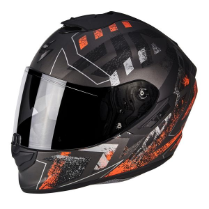 CASCO MOTO INTEGRALE SCORPION EXO-1400 AIR PICTA MATT SILVER ORANGE