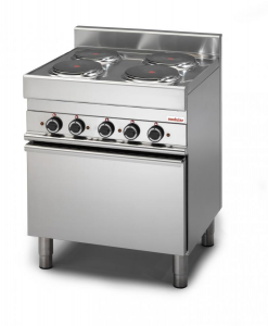 Cucina elettrica 4 piastre potenziata, forno elettrico a convenzione GN 2/3 porta in acciaio