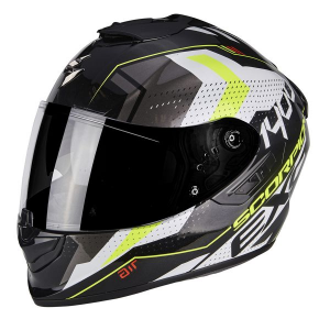 CASCO MOTO INTEGRALE SCORPION EXO-1400 AIR TRIKA WHITE BLACK NEON YELLOW