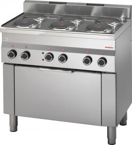 Cucina elettrica 5 piastre, forno elettrico a convenzione, porta vetro, grill elettrico