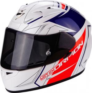 CASCO MOTO INTEGRALE SCORPION EXO-710 AIR LINE WHITE RED BLUE