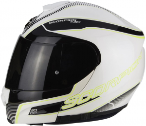 CASCO MOTO MODULARE SCORPION EXO-3000 AIR STROLL PEARL WHITE BLACK NEON YELLOW