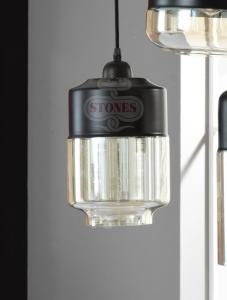 LAMPADA A SOSPENSIONE INDUSTRIAL METALLO E  VETRO D17,8