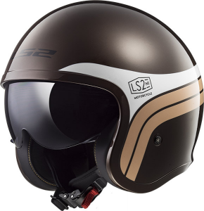 Casco jet LS2 OF599 SPITFIRE SUNRISE Marrone Bianco