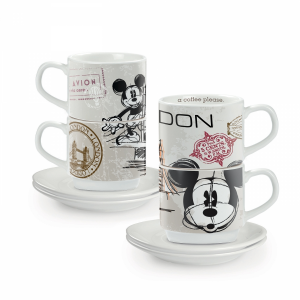 SET 2 TAZZINE CAFFE' IMPILABILI DISNEY-LONDON IN PORCELLANA, EGAN
