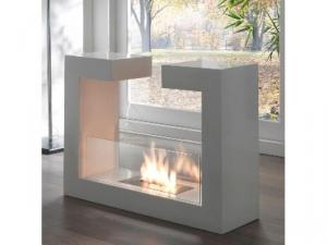 caminetto da pavimento in metallo verniciato bianco opaco , vetro temperato