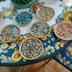 Piatto ceramica caltagirone da cm 15 ornato