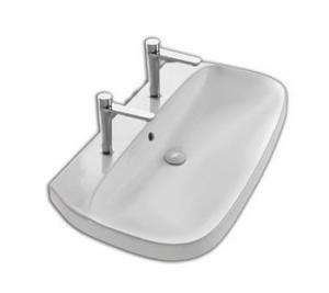 Lavabo per il bagno doppio foro cm 100 serie Abito Hatria