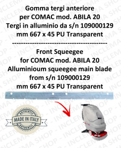 Bavette avant pour autolaveuses COMAC ABILA 20 suceur in alluminio da s/n 109000129