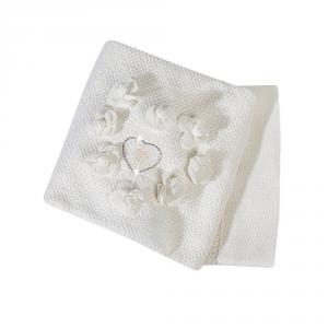 Copertina lana culla/carr. con Swarovski Flora Picci