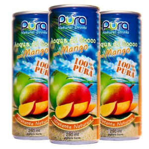 ACQUA DI COCCO - Gusto Mango - Rinfrescante e Rigenerante - 6 lattine