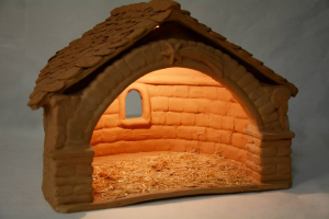 Capanna in terracotta con lampadina elettrica 32x26x25 cm