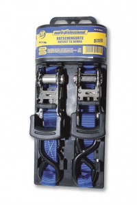 Ratchet Tie Downs, length 3 m, with coated grip and S-hooks