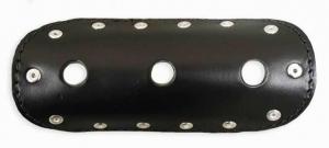 Universal Exhaust Heat Shield Black Leather 6, Circle Cut