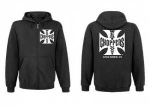 WCC Iron Cross Zip Hoody, Solid Black
