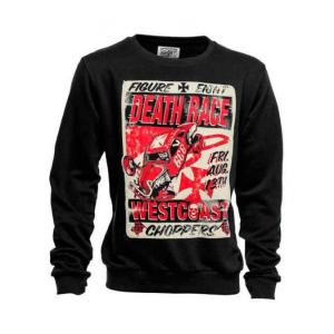 Felpa West Coast Choppers Death Races Nero Rosso