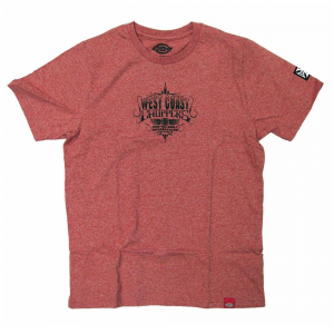 T-Shirt West Coast Choppers Dickies Tee Custom Built Rosso
