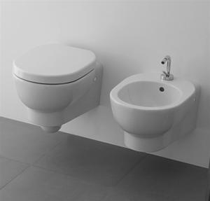 Vaso e bidet sospeso per il bagno monoforo M2 Galassia cm 50 x 35