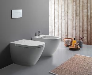 Vaso e bidet a terra filo parete per il bagno cm 58 x 37 Stockholm Globo