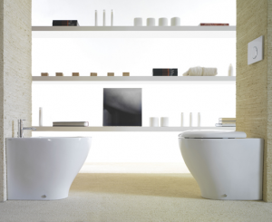 Vaso e bidet a terra filo parete per il bagno cm 55 x 38 Bowl+ Globo