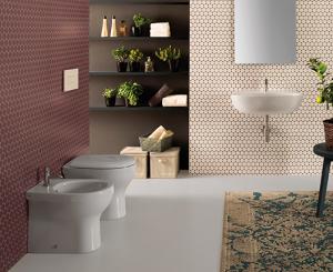 Vaso e bidet a terra filo parete per il bagno cm 52 x 36 Grace Globo