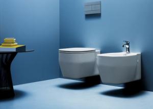 Vaso e bidet sospeso per il bagno cm 52 x 36 Glaze Azzurra