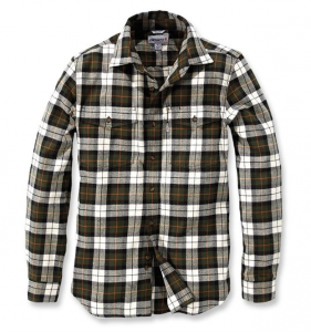 Slim Fit Flannel Shirt Olive
