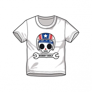 Bobby Bolt USA Helmet T-Shirt for Kids, white