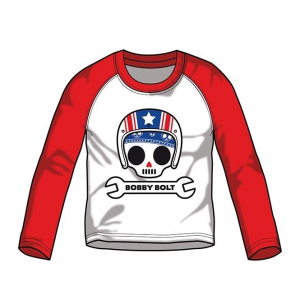Bobby Bolt Baseball Tee for Kids, red-white